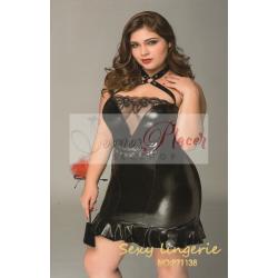 Sexy Vestido negro con encajes XL
