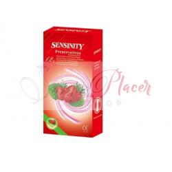 Preservativo Ribbed  Sensinity sabor Frutilla12 unidades